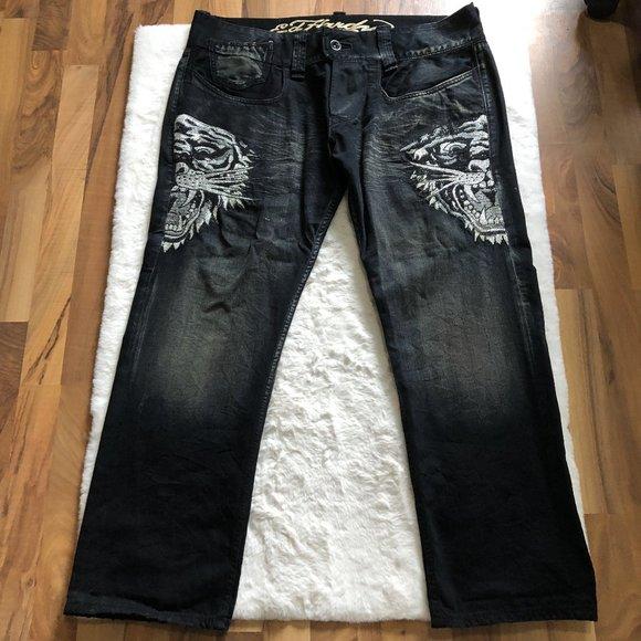 Ed hardy tiger embellish gems jeans size 42Wx32L